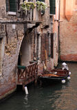 Italy Venice Peaceful tourist free canal. Italy Venice Historical center - old buildings and a peaceful narrow canal - off the beaten track royalty free stock images