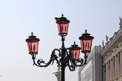 Italy. Venice. Pink street lamp. Murano glass Royalty Free Stock Images
