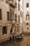 Italy. Venice. Romantic canal. In Sepia toned. Retro style Stock Photography