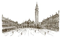 Italy, Venice, San Marco. Hand drawn sketch Stock Photography