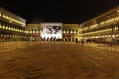 Italy. Venice. San Marco square. Piazza San Marco at night Stock Photos