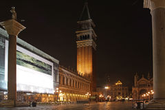 Italy. Venice. San Marco square. Piazza San Marco at night Royalty Free Stock Photo