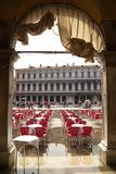 ITALY, VENICE - September 7: St. Marks square restaurant is rea Royalty Free Stock Image