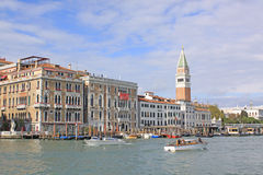 Italy. Venice. Veiw at Bell Tower of San Marco - St Mark's Campanile and Vaporetto station Royalty Free Stock Photography