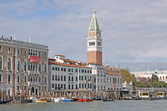 Italy. Venice. Veiw at Bell Tower of San Marco - St Mark's Campanile and Vaporetto station Royalty Free Stock Images