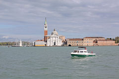 Italy. Venice. Veiw at The Cathedral of Santa Maria della Salute from boat Stock Images