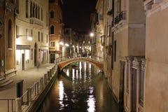 Italy. Venice. Veiw of city. Canal at night Stock Photos