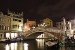Italy. Venice. Veiw of city. Canal at night Stock Image