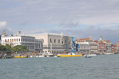 Italy. Venice. Veiw at Doge Palace and Vaporetto station Stock Photo