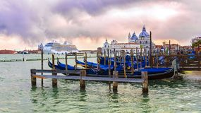 Italy, Venice. Venetian lagoon at sunset in Venice stock images