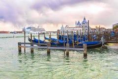 Italy, Venice. Venetian lagoon at sunset in Venice royalty free stock photo