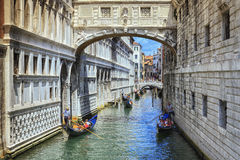 Italy Venice waterway with gondola Royalty Free Stock Images