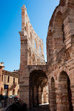 Italy, Verona, ancient amphitheater. Ancient wall and arch Stock Photos