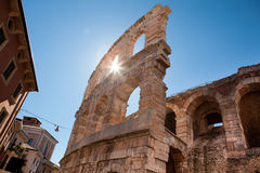 Italy, Verona, ancient amphitheater. Ancient wall and arch Stock Photo