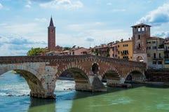 Italy, Verona, Bridge Stock Images