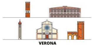 Italy, Verona flat landmarks vector illustration. Italy, Verona line city with famous travel sights, skyline, design. Italy, Verona flat landmarks vector stock illustration