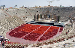 Italy,  Veronese amphitheater (Arena di Verona). Veronese amphitheater (Arena di Verona). It is the antique amphitheater, the third by the size constructed Royalty Free Stock Photos