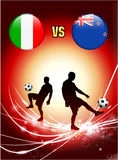 Italy versus New Zealand on Abstract Red Light Background Royalty Free Stock Photos