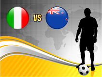 Italy versus New Zealand on Abstract World Map Background Royalty Free Stock Photography