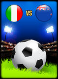 Italy versus New Zealand on Soccer Stadium Event Background Stock Photos
