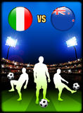 Italy versus New Zealand on Stadium Event Background Royalty Free Stock Photo