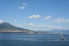 Italy, Vesuvius volcano and yacht Stock Photos