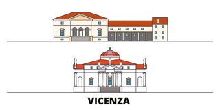 Italy, Vicenza flat landmarks vector illustration. Italy, Vicenza line city with famous travel sights, skyline, design. Italy, Vicenza flat landmarks vector royalty free illustration