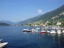 Italy. View at Como Lake and boats. Tremezzo city Stock Image