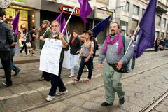 Italy, Violet party protesting politic corruption Royalty Free Stock Photos