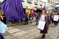 Italy, Violet party protesting politic corruption Royalty Free Stock Photo