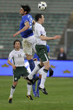 Italy vs Ireland soccer tackle Royalty Free Stock Image