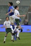 Italy vs Ireland soccer tackle Royalty Free Stock Image
