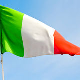 italy   waving flag in the blue sky  colour and wave Royalty Free Stock Photo