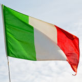 italy   waving flag in the blue sky  colour and wave Royalty Free Stock Photography