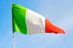 italy   waving flag in the blue sky  colour   wave Stock Photos