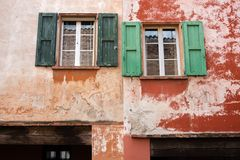 Italy, window of a portico of Bologna Stock Photography