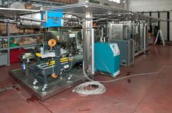 Italy wine: automatic bottling line Royalty Free Stock Image