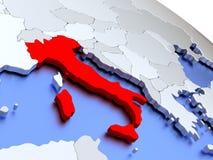 Italy on world map Stock Image