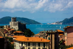 Italyan fort. Italian fort and sea in summer day royalty free stock photos