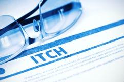itch Concetto medico su fondo blu illustrazione 3D Immagine Stock