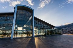 Itchimbia Cultural Center. Building with metal structure and glass walls, Itchimbia Cultural Center stock images