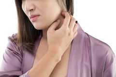 Itching neck. Beautiful woman itching and scratching by hand, Closeup, Healthcare And Medicine - People with skin problem concept stock photography
