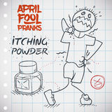 Itching Powder Prank for April Fools' Day Doodle, Vector Illustration. Poor April Fool with itching powder in his body being pranked Stock Images