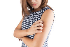 Itching In A Woman, Upper arm; itching, isolate on white backgro Stock Photos