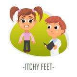 Itchy πόδια ιατρικής έννοιας επίσης corel σύρετε το διάνυσμα απεικόνισης διανυσματική απεικόνιση