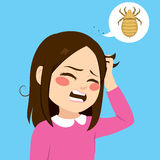 Itchy Hair Girl. Cute little girl with lice annoyed scratching itchy hair Royalty Free Stock Photos