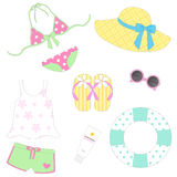 Item for The Beach. Beachwear and item for summer Royalty Free Illustration