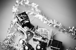 Item decorate for christmas tree black and white color tone styl Royalty Free Stock Photos