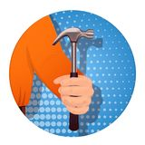 Item in the man s hand-03. A man s hand holds a hammer. On a blue background. Banner for business. Vector illustration Stock Illustration