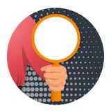 Item in the man s hand-07. The person s hand holds a circular board-banner for inserting any text. On an abstract background. Advertising for business. Vector stock illustration